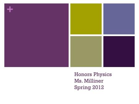 + Honors Physics Ms. Milliner Spring 2012. + Student Survey Enter the classroom Grab a survey from table where you walk in & a post-it note (Ms. Milliner.