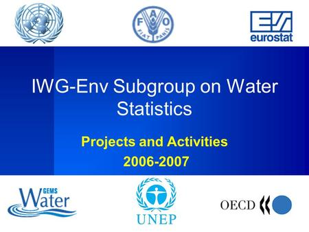 IWG-Env Subgroup on Water Statistics Projects and Activities 2006-2007.