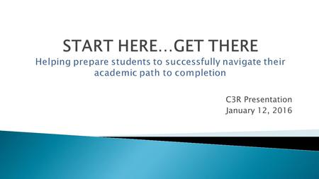 C3R Presentation January 12, 2016. Keeps LCC's open door OPEN! Helps underprepared students raise their skills to college level. 63% of Michigan students.