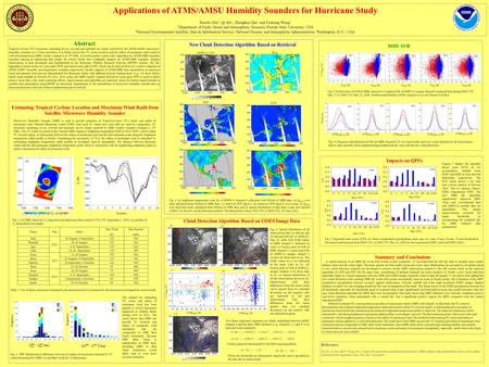 Applications of ATMS/AMSU Humidity Sounders for Hurricane Study Xiaolei Zou 1, Qi Shi 1, Zhengkun Qin 1 and Fuzhong Weng 2 1 Department of Earth, Ocean.