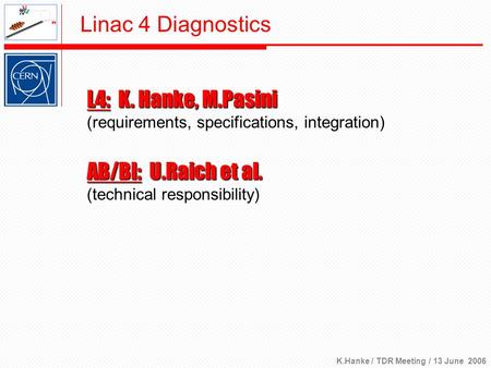 K.Hanke / TDR Meeting / 13 June 2006 Linac 4 Diagnostics L4: K. Hanke, M.Pasini (requirements, specifications, integration) AB/BI: U.Raich et al. (technical.