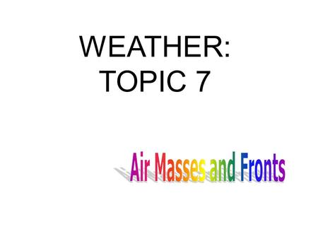 WEATHER: TOPIC 7. What is an air mass? An air mass is a large body of air in the troposphere with similar characteristics of pressure, moisture and temperature.