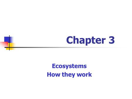 Ecosystems How they work Chapter 3. Biosphere II Purpose: recreate conditions of Earth (Biosphere I) * to understand our world better * space travel 5.