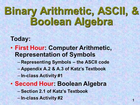1 Binary Arithmetic, ASCII, & Boolean <strong>Algebra</strong> Today: First Hour: Computer Arithmetic, Representation of Symbols –Representing Symbols – the ASCII code.