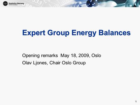 1 1 Expert Group Energy Balances Opening remarks May 18, 2009, Oslo Olav Ljones, Chair Oslo Group.