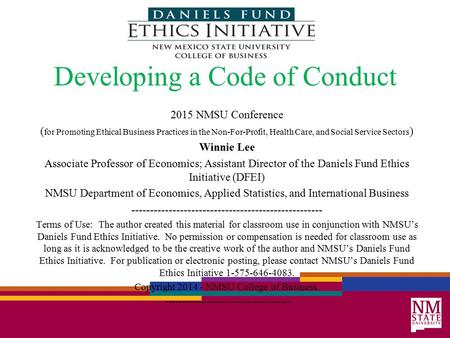 Developing a Code of Conduct 2015 NMSU Conference ( for Promoting Ethical Business Practices in the Non-For-Profit, Health Care, and Social Service Sectors.
