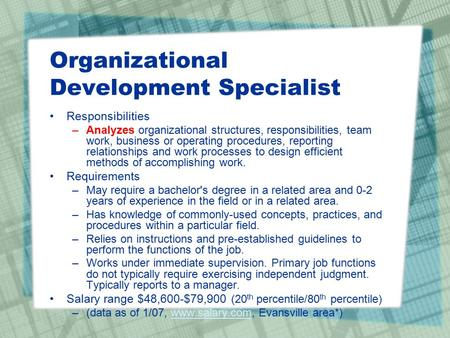 Organizational Development Specialist Responsibilities –Analyzes organizational structures, responsibilities, team work, business or operating procedures,