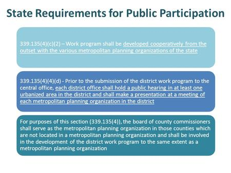 State Requirements for Public Participation 339.135(4)(c)(2) – Work program shall be developed cooperatively from the outset with the various metropolitan.