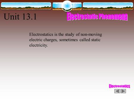 Unit 13.1 Electrostatics is the study of non-moving electric charges, sometimes called static electricity.