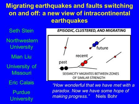 Migrating earthquakes and faults switching on and off: a new view of intracontinental earthquakes Seth Stein Northwestern University Mian Liu University.