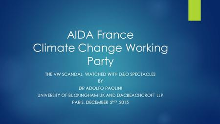 AIDA France Climate Change Working Party