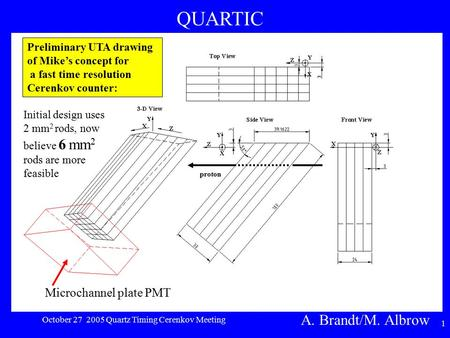 1 Preliminary UTA drawing of Mike's concept for a fast time resolution Cerenkov counter: proton Microchannel plate PMT Initial design uses 2 mm 2 rods,
