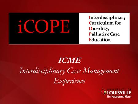 ICME Interdisciplinary Case Management Experience.