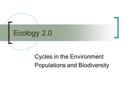 Ecology 2.0 Cycles in the Environment Populations and Biodiversity.