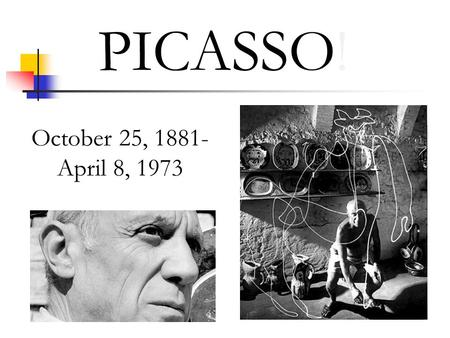 "PICASSO! October 25, 1881- April 8, 1973. ""GIVE ME A MUSEUM AND I WILL FILL IT!"" AND SINCE PICASSO DOES WITH THIS VMFA EXHIBIT IN 12 GALLERIES…"
