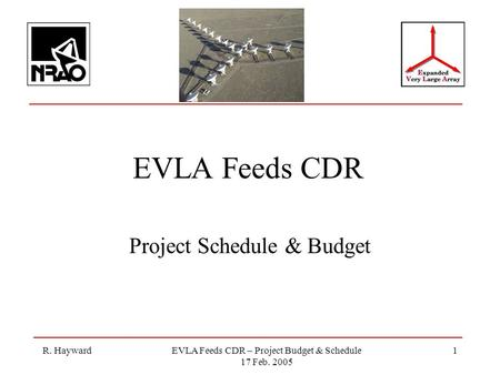 R. HaywardEVLA Feeds CDR – Project Budget & Schedule 17 Feb. 2005 1 EVLA Feeds CDR Project Schedule & Budget.