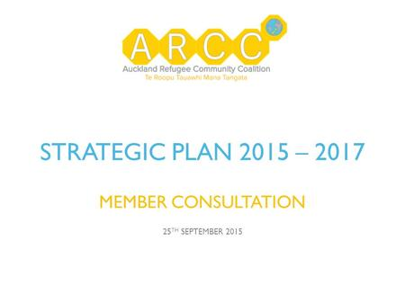 STRATEGIC PLAN 2015 – 2017 MEMBER CONSULTATION 25 TH SEPTEMBER 2015.