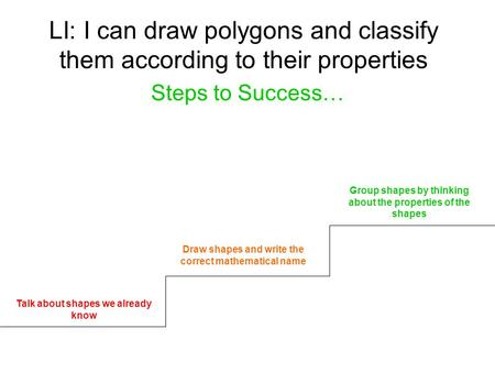 LI: I can draw polygons and classify them according to their properties Steps to Success… Talk about shapes we already know Draw shapes and write the correct.