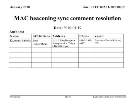 Doc.: IEEE 802.11-10/0100r2 Submission January 2010 Kazuyuki Sakoda, Sony CorporationSlide 1 MAC beaconing sync comment resolution Date: 2010-01-19 Authors: