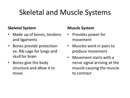 Skeletal and Muscle Systems Skeletal System Made up of bones, tendons and ligaments Bones provide protection ex. Rib cage for lungs and skull for brain.