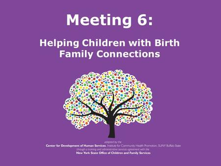 New York State Office of Children and Family Services. Meeting 6: Helping Children with Birth Family Connections.