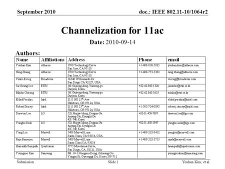 Doc.: IEEE 802.11-10/1064r2 Submission Channelization for 11ac Date: 2010-09-14 Youhan Kim, et al.Slide 1 Authors: September 2010.