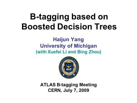 B-tagging based on Boosted Decision Trees