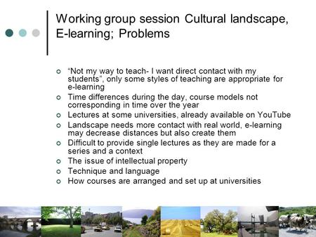 "Working group session Cultural landscape, E-learning; Problems ""Not my way to teach- I want direct contact with my students"", only some styles of teaching."