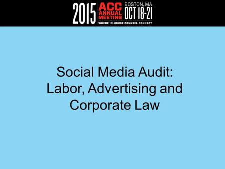 Social Media Audit: Labor, Advertising and Corporate Law.