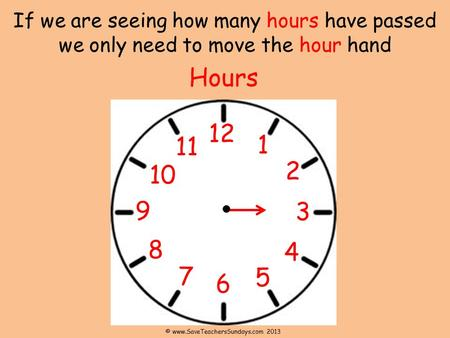 © www.SaveTeachersSundays.com 2013 If we are seeing how many hours have passed we only need to move the hour hand Hours 12 11 1 2 10 9 3 8 4 7 5 6 © www.SaveTeachersSundays.com.