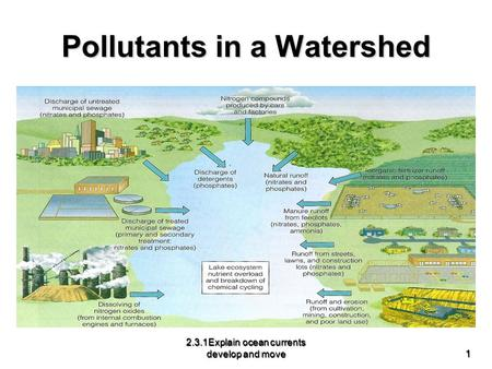 Pollutants in a Watershed 2.3.1Explain ocean currents develop and move 1.