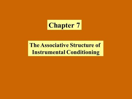 Chapter 7 The Associative Structure of Instrumental Conditioning.