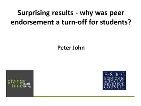 Surprising results - why was peer endorsement a turn-off for students? Peter John 1.