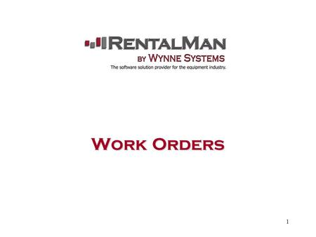1 Work Orders. 2 Generating a Work Order There are two methods to generating a Work Order in the WYNNE STSTEM. First method: Option 11 – 12 – 13 * Open.