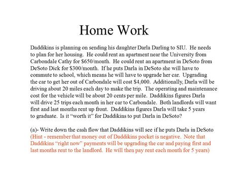Home Work Daddikins is planning on sending his daughter Darla Darling to SIU. He needs to plan for her housing. He could rent an apartment near the University.