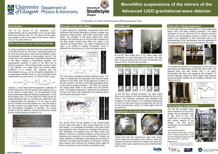 C1) K. Tokmakov on behalf of the Advanced LIGO Suspensions Team Monolithic suspensions of the mirrors of the Advanced LIGO gravitational-wave detector.