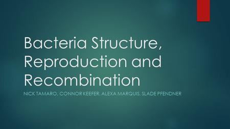 Bacteria Structure, Reproduction and Recombination NICK TAMARO, CONNOR KEEFER, ALEXA MARQUIS, SLADE PFENDNER.