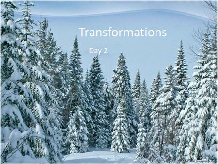 Transformations Day 2. Problem Solving Quiz 1.While walking through the snowy forest, Danielle counted 8 trees. If each tree has 43 branches, how many.