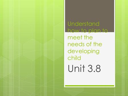 Understand how to plan to meet the needs of the developing child Unit 3.8.