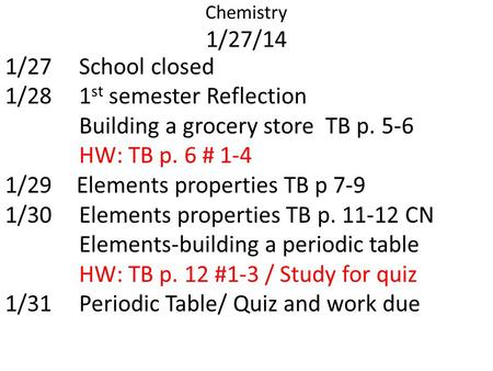 Chemistry 1/27/14 1/27School closed 1/281 st semester Reflection Building a grocery store TB p. 5-6 HW: TB p. 6 # 1-4 1/29 Elements properties TB p 7-9.