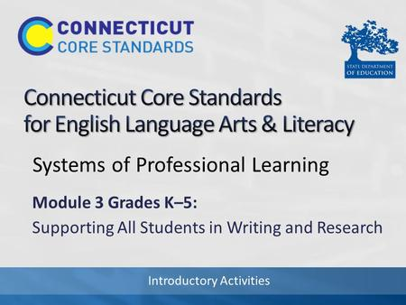 Introductory Activities Systems of Professional Learning Module 3 Grades K–5: Supporting All Students in Writing and Research.