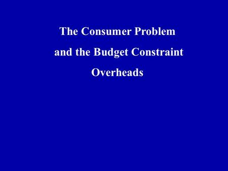 The Consumer Problem and the Budget Constraint Overheads.