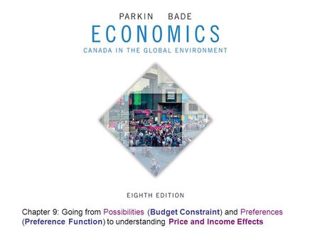 Chapter 9: Going from Possibilities (Budget Constraint) and Preferences (Preference Function) to understanding Price and Income Effects.