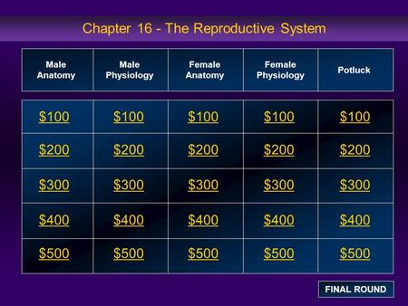 Chapter 16 - The Reproductive System $100 $200 $300 $400 $500 $100$100$100 $200 $300 $400 $500 Male Anatomy Male Physiology Female Anatomy Female Physiology.