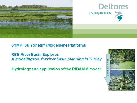 Hydrology and application of the RIBASIM model SYMP: Su Yönetimi Modelleme Platformu RBE River Basin Explorer: A modeling tool for river basin planning.