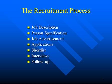 1 The Recruitment Process Job Description Job Description Person Specification Person Specification Job Advertisement Job Advertisement Applications Applications.