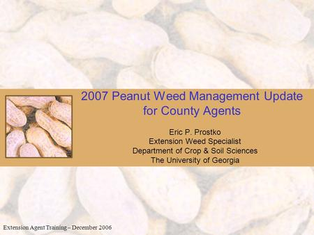 2007 Peanut Weed Management Update for County Agents Eric P. Prostko Extension Weed Specialist Department of Crop & Soil Sciences The University of Georgia.