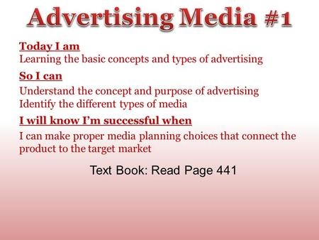 Today I am Learning the basic concepts and types of advertising So I can Understand the concept and purpose of advertising Identify the different types.