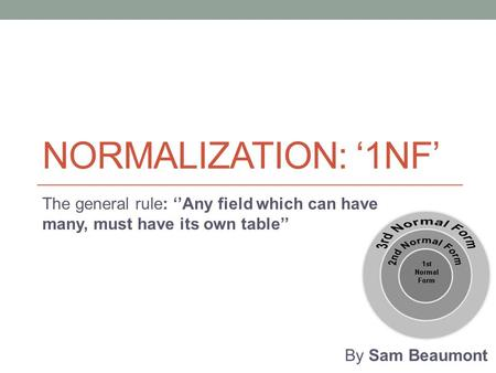 NORMALIZATION: '1NF' The general rule: ''Any field which can have many, must have its own table'' By Sam Beaumont.