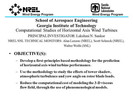 Wind Energy Program School of Aerospace Engineering Georgia Institute of Technology Computational Studies of Horizontal Axis Wind Turbines PRINCIPAL INVESTIGATOR:
